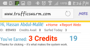 view of an actual page off of traffic swarm's website that shows how many credits have been earned after 19 seconds