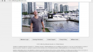 a view of anthony trister on the front page of the coffeeshop millionaire affiliates website