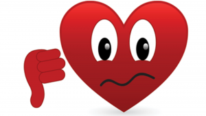 a sad red heart showing a thumbs down that the review of coffee shop millionaire is not a good decision