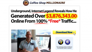 A screen shot of the Coffe Shop Millionaire website