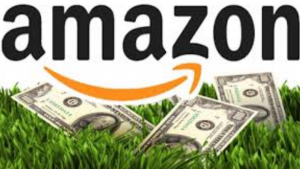 a view of amazon and hundred dollar bills on green grass showing how amazon affiliates get paid