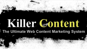 the killer content system's logo with black yellow and white colors