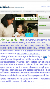 a view of the alorica at home web page showing it is legit