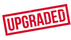 a red and white picture of the word upgraded