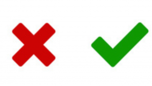 A picture of a red x, and a green check mark
