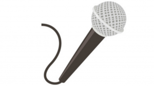a black and white cartoon picture of a mic