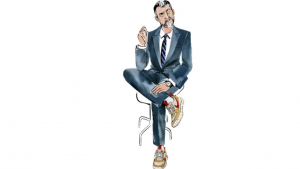 a cartoon picture of a man dressed in a suit sitting down