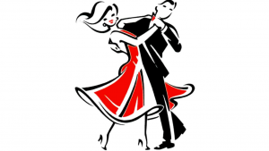 a cartoon picture of a two people dancing