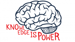 A picture of a brain and Knowledge is Power Wall Decal