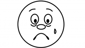 a cartoon black and white picture of a sad face, Cartoon Crying Face Clip Art - Get Coloring Pages