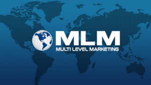 A dark blue picture that says the words MLM Multi Level Marketing