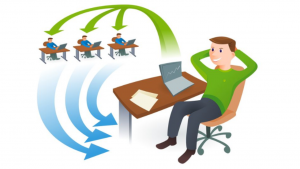 A cartoon picture of a guy sitting at a desk, sending 3 people messages thru the air