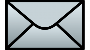 A screen shot of a grey and black envelope