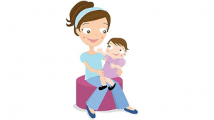 a cartoon picture of a babysitter holding a baby