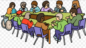 a cartoon picture of advocates for a nonprofit organization sitting at a table