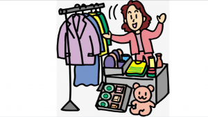 a cartoon picture of a women selling a lot of merchandise