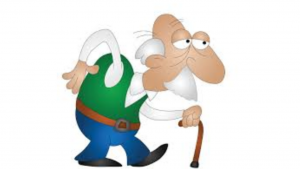 a cartoon picture of a tired sad old white man with a cane