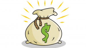 A cartoon picture of a money bag