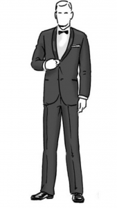 A black and white cartoon picture of a man standing in a suit