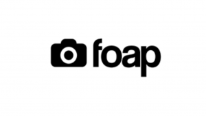 A black and white screen shot of a camera and the word foap