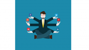a Cartoon picture of a Social Media Manager with 6 arms