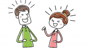 a cartoon picture of a man and a women laughing