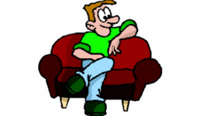 a cartoon picture of a man relaxing on a couch