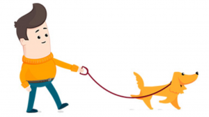 a cartoon picture of a college student walking dogs
