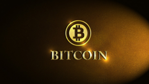 A picture of the words bitcoin and the bitcoin symbol
