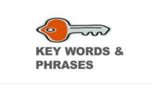 A cartoon picture of a key, and the words key words & phrases
