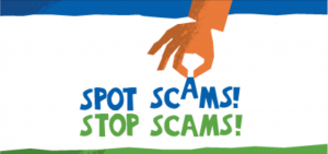 A picture that reads spot scams stop scams