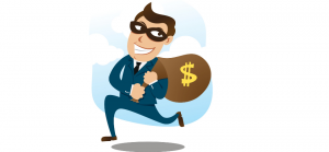 A color cartoon picture of a robber running away with a bag of money