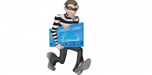 A cartoon picture of a robber running away holding an atm card