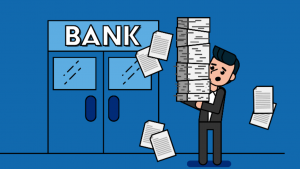A cartoon picture of a white man in a business suit, holding a stack of papers, walking towards blue bank doors