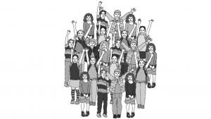 A black and white cartoon picture of a large group of people raising their hands
