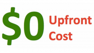 A picture that reads $0 in green, upfront cost in red