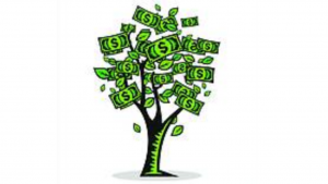 a cartoon picture of dollar signs all around a tree like leaves