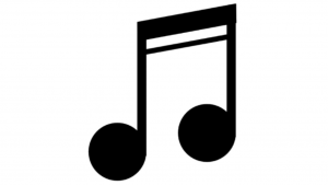 a black and white picture of music symbol