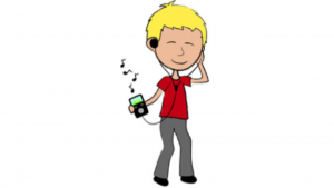 a cartoon picture of a boy listening to music