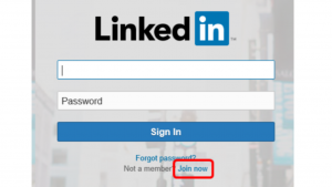 A screen shot of the LinkedIn log in screen