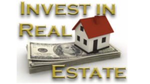 A picture of the words invest in real estate, with a house sitting on top of some money