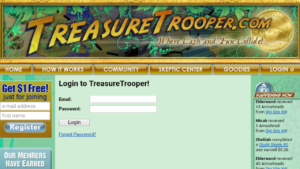 A screen shot picture of the TreasureTrooper website login page