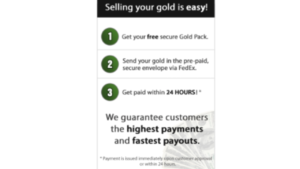 a picture of the cash4gold secure pack 3 step process