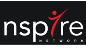 A red, black, and white picture of nspire network logo