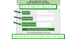 A screen shot picture of Project Paydays create account page