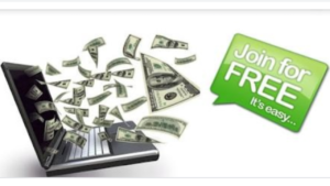 "A cartoon picture of a laptop spitting out money, with a green sign that reads ""join for free""."
