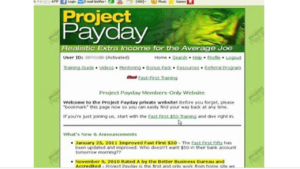 A screen shot picture of Project Paydays website homepage