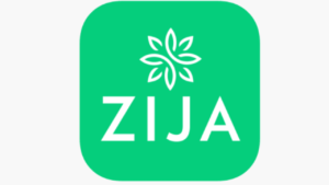 A green and white picture of the Zija Logo