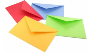 a picture of 4 envelopes
