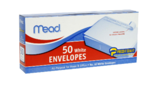 a picture of a box of mead envelopes